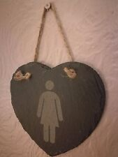 Slate Hanging Heart Shaped Ladies Room Toilet Signs