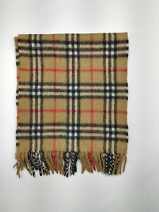Burberry genuine Vintage 100% Cashmere Nova check Camel winter Scarves Scarf