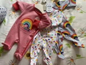 Brand New Next Girls Babygrows First Size Newborn