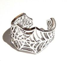 SILVER SPIDER WEB RING adjustable metal punk gothic vampire Halloween band I6