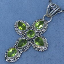 Genuine Peridot Cross Necklace Sterling Silver Rope Chain P261203 Fancy-Dancy