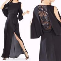 AUTH BCBG MAX AZRIA Rayah Sequin Embroidered Draped Back Gown in Black