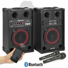 """Pair of Fenton 8"""" Powered Bluetooth Speakers with Wired Handheld Mics 400W UK"""