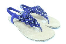 Women's Flower Sandals with Shiny Stones Ankle Strap Thongs Shoes 5~11 Dark Blue