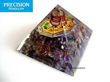Large Amethyst Orgone Pyramid with Mandala and Copper Coil Crystal Quartz Point