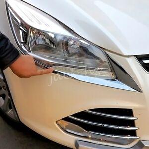 For 2013-2016 Ford Escape Kuga Chrome Head Light Headlight Cover Trims