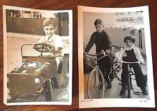 LOT 2 REAL PHOTO 1950s ISRAEL CHILDREN IDF ARMY CAR BICYCLE HAIFA JUDAISM JEWS