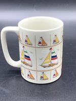 Vintage Otagiri Sailboat Seagull Colorful Mug Coffee Cup Japan Sailing Regatta