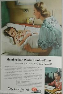 1953 New York Central ad, sleeping girl, bedtime berth