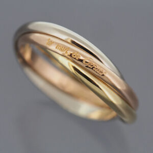 CARTIER 18K TRI COLOR GOLD 3 BANDS TRINITY ROLLING RING XS 52 WITH POUCH