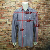 Faconnable Classique Blue Striped Cotton Oxford Dress Shirt Mens 2XL Tall