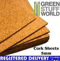 Cork Sheet in 5mm for Wargame bases, Model Trains, Craft Projects, warhammer AOS