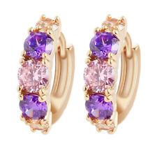 Fashion Women Yellow Gold Filled Clear Amethyst Pink Crystal Huggie Hoop Earring