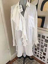 NWT ZARA STUDIO 100% Silk Oversized Shirt W/ Frill Top Blouse Dress 8510/657 _M