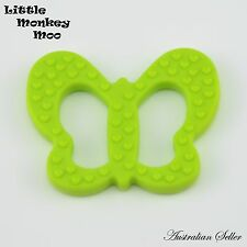 1 Green Butterfly Silicone Teething Toy Ring Chew Teether BPA Free - Aust Seller