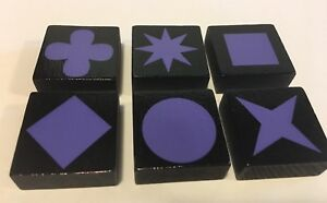 Lot of 6 PURPLE QWIRKLE Game Tiles Replacement Part Pieces Set ONE OF EACH SHAPE