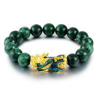 Feng Shui Black Obsidian Alloy JADE Wealth Golden Pixiu Bracelet Lucky Jewelry