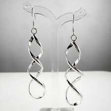 Sterling Silver Plated Spiral Drop Twist Hook Earrings Women's Fashion Jewelry