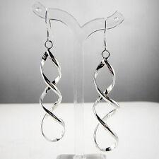 Sterling Silver Plated Spiral Drop Twist Hook Earrings Women's Fashion Jewelry
