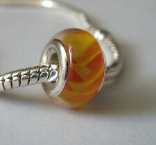 Edler Glas Bead Gelb Orange für Armband  0633
