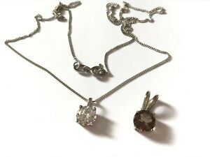 """2 Vintage silver cubic zirconia and smoky quartz pendant and a 18"""" chain"""