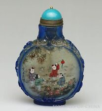 "Wonderful Old Handmade ""Children"" Overlay Inside Painted Glass Snuff Bottle"