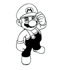 Super Mario Brothers 3D Wall Decal Game Room Childs Bedroom - Black Outline