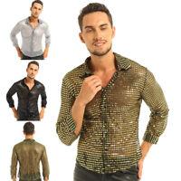 Men See Through Sequin Disco Dance Shirt Costume 70s Long Sleeve Clubwear Dress