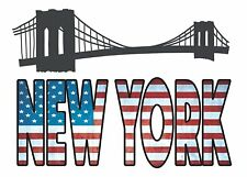 New York Words Wall Decals Flag Manhattan Bridge Room Decor Stickers Quote Usa