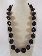 Vintage Napier Fancy Shape Black Chunky Bead Individually Knotted Necklace