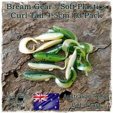 10x 45mm Soft Plastic Fishing Lures Curl Grub Fish Bait Bream Whiting Flathead