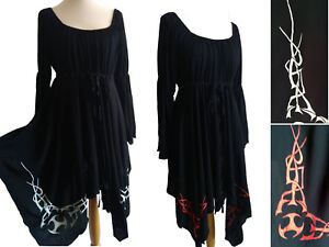 hand painted boho celtic tribal detail peasant blouse 12 14 16 18 SWIRL CLOTHING