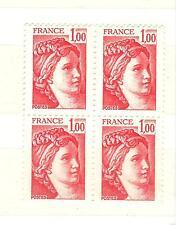 FRANCE VARIETE TYPE SABINE BLOC DE 4 YVERT N° 1972C G. TROPICALE SANS PHOSPHORE
