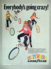 Good Year Crazy Wheels Bicycle Tire PRINT AD - 1969 ~~ orange, blue, red tires