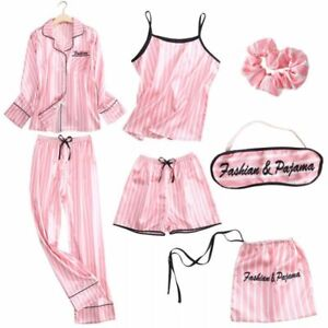 Satin Pyjamas Ladies Womens 7pcs set Silk Long Sleeve Soft Sleepwear Nightwear