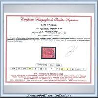 San Marino 1892 Lira rossa n. 20 Usato Cert. Terrachini