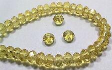 10 PERLE AMBRA CHIARO  6,5 mm MEZZI CRISTALLI SFACCETTATI beads BIGIOTTERIA