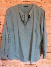 Lafayette 148 Shirt Blouse XXL Turquoise Dunham Split Neck Teal Blue Aqua Long