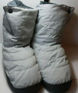 REI Cabiniste Down Filled Booties Fleece Lined Grey Duvet Slipper Puffer- WL