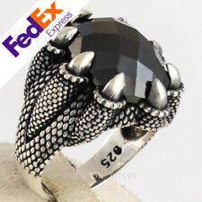 925 Sterling Silver Black CZ Stone LUXURY Eagle Fang Men Ring Size 12.5 US