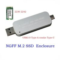 USB 3.0 Type-A+Type-C to M2 2230/2242 SSD External Enclosure Case Box