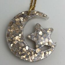 Large Star  and moon Glitter Charms Necklace i027 Glitter Pendant Gold Chain