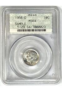 1958-D Roosevelt Dime PCGS MS64 Doily Sample Slab Very Rare OGH Old Rare Coin