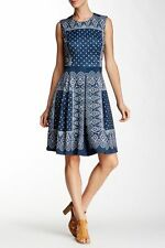 NWT NANETTE nanette lepore Navy Blue Scuba Bandana Print Dress 12 $118