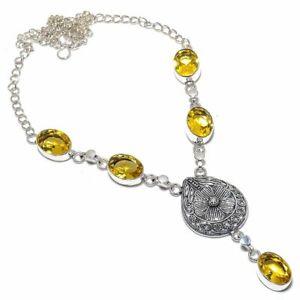 "Citrine Topaz Gemstone 925 Sterling Silver Handmade Necklace 16-17.99"" M1510"