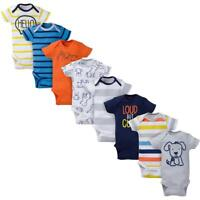 8-Pack Onesies Brand Baby Boy Short Sleeve Navy & Orange Bodysuits