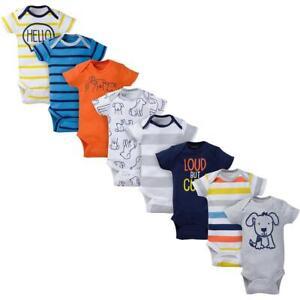 8-Pack Onesies Brand Baby Boy Short Sleeve Navy & Orange Bodysuits