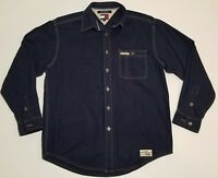 Vintage 90s TOMMY HILFIGER JEANS Mens L/S Denim Shirt metal buttons spellout M