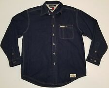 VTG TOMMY HILFIGER JEANS Mens Long Sleeve Denim Shirt metal buttons spellout M