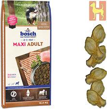 15 kg Bosch Adult Maxi - Hundefutter für Hunde großer Rassen + 6 Rinderohren